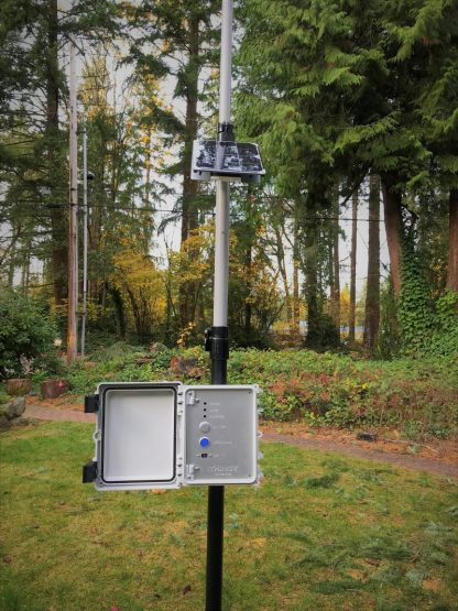 Sensor mounted to an optional mast and with a solar panel