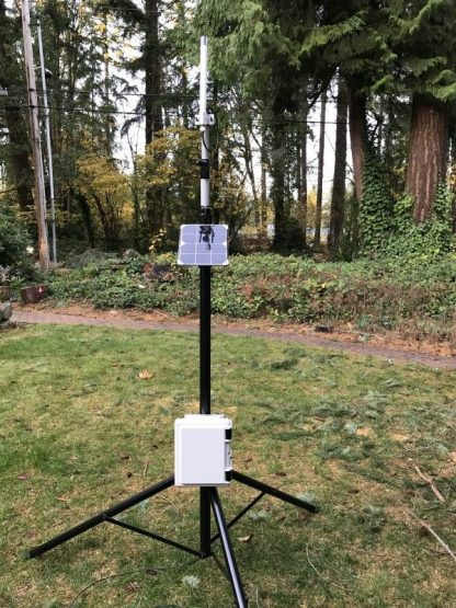 Gateway Node mounted to optional mast and with optional solar panel and omni LoRa antenna